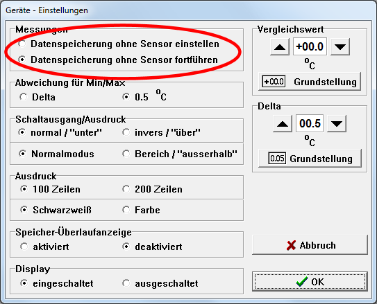 Datenspeicherung ohne Sensor einstellen