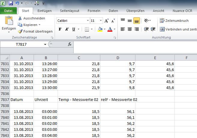 Zweiter Kurven-Block in Excel
