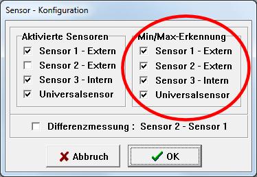 Min/Max-Erkennung in der Sensor - Konfiguration